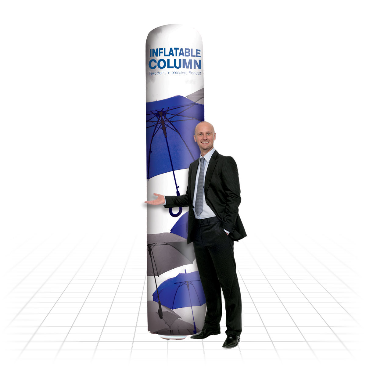 Zeus Exhibition Stand : Inflatable column ideal for outdoor marketing at farmers