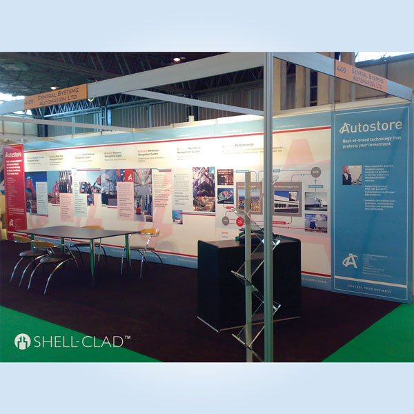 Shell Clad Exhibition Stand : Shell clad graphic panels