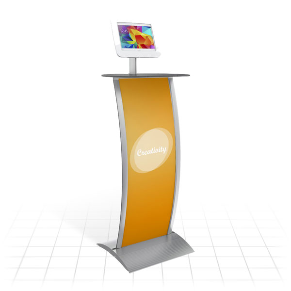 Kiosk Plus Tablet Display Stand (Curved - Shelf)